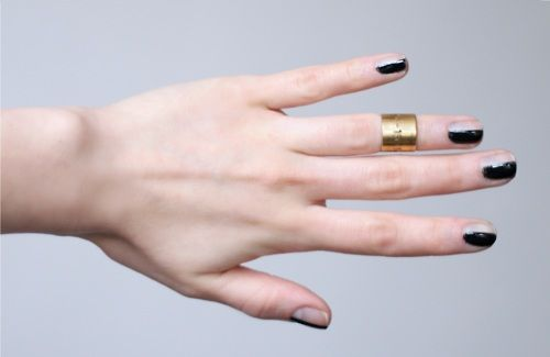 Half manicure and cute ring