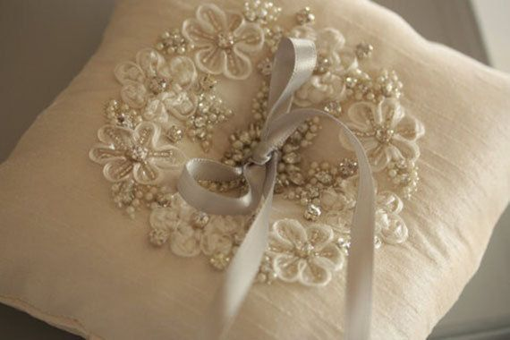 Ring Bearer Pillow Ash Ivory Made to Order by EnrichbyMillie, $110.00