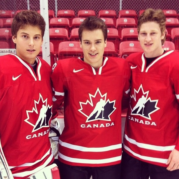 Zach Fucale, Jonathan Drouin, and Nathan MacKinnon from the Halifax Mooseheads on Team Canada