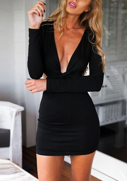 Timeless style comes from the basic. This black knot cutout dress is a stretchable piece to hug your curves with back zipper, a plunging neckline and a cutout at the back. | Lookbook Store Dress