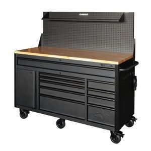 Husky 60 in. 10-Drawer and 1-Door 24 in. D Textured Black Matte Mobile Workbench, Sliding Pegboard and Shelf HOTC6010BB2M at The Home Depot - Mobile