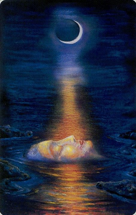 The Moon - Roots of Asia Tarot - your nightly dreams lead you to a new depth in your soul. Pay attention, be quiet, allow yourself to heal.