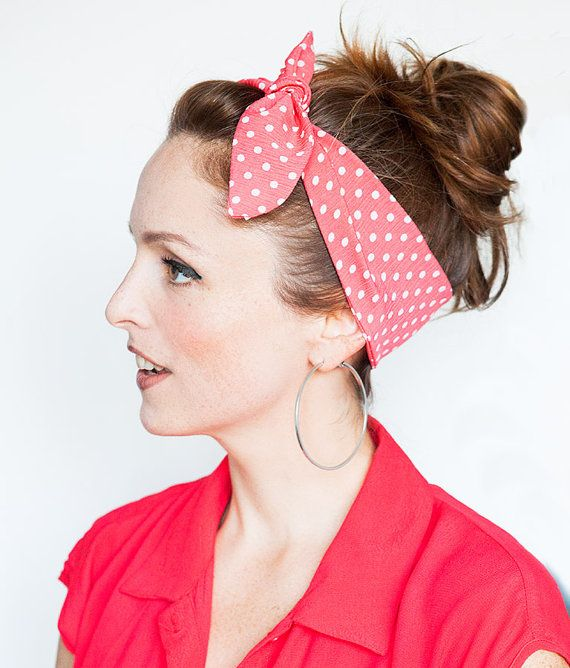 Dolly Bow Polka Dot Headband Pinup Rockabilly by MinitaStudio