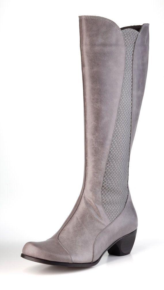 Grey bottes en cuir souple chaussures en cuir / bottes de Cowboy / femme gris chaussures / hiver chaussures / bottes en cuir doublées en bois talon bottes - Alice
