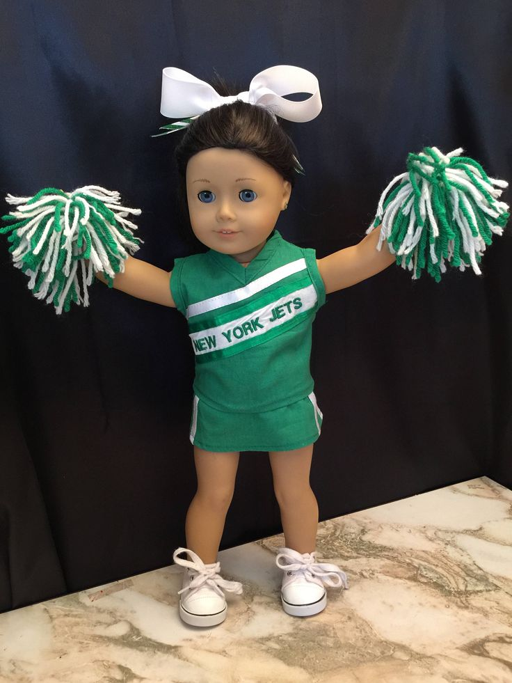 Homemade Doll Clothes For 18 Inch Dolls Like American Girl : NY Jets Cheerleading Outfit Includes Top, Skirt, Pompoms, Panties & Hair Bow by CutzieDollFashions on Etsy