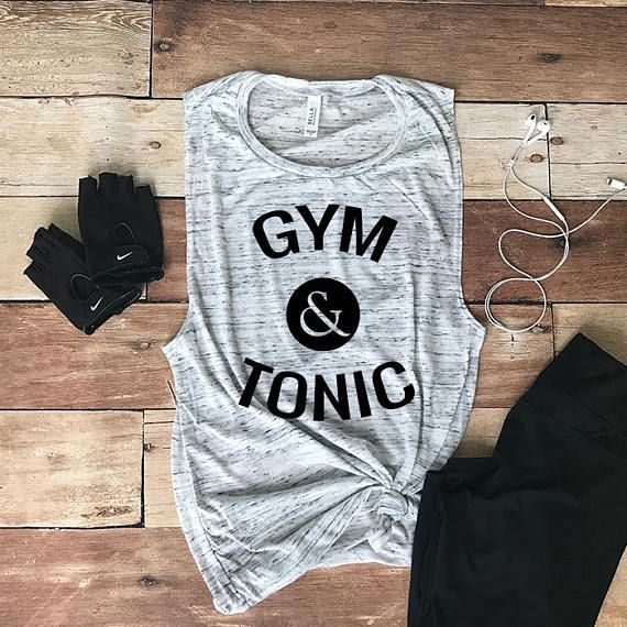Our Gym and Tonic muscle tee with sayings, are a must have for your next workout sesh with the ladies or to have that cute and comfy look to run errands. Sometimes a bit of motivation can be the highlight of your day, for you and everyone else. These cute muscle tees are easy to customize if