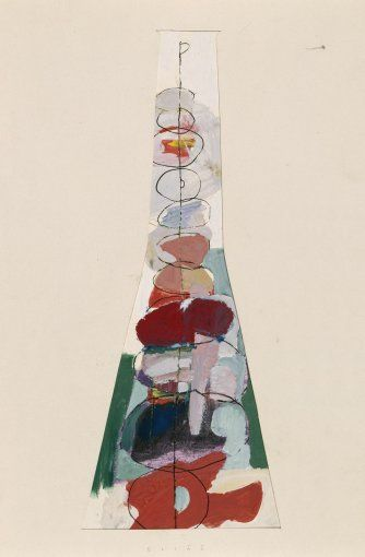 Bohumil Elias, design for glass vase with abstract decoration, gaouche on paper, 51,0 x 23,0 cm, VSUP Prague, 1958 - 63