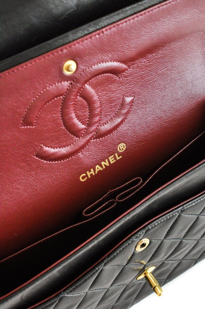 c56538497c4dfd Vintage 1990s Chanel 2.55 Classic Flap Bag in Black Lambskin from Sweet &  Spark.