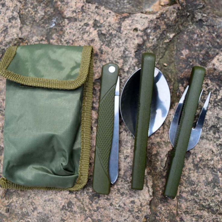야외 다기능 여행 휴대용 접이식 피크닉 포크/스푼/칼 세트 식기 캠핑 도구