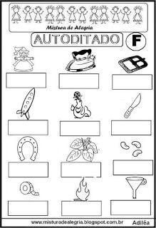 Autoditado para alfabetização com a letra F