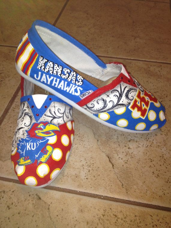 Kansas University Jayhawks hand paitned TOMS by solespirit on Etsy, $110.00