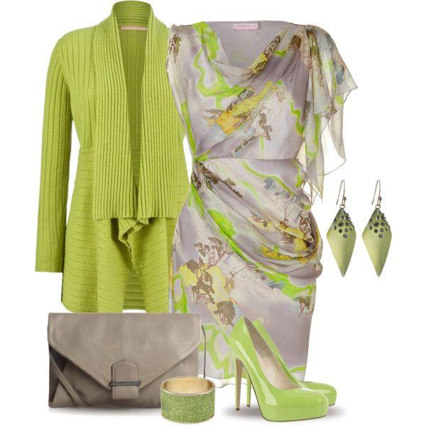 """Green Cardigan & Dress"" by yasminasdream on Polyvore"