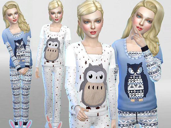 Lana CC Finds -  Winter Owl Pyjama Set by Pinkzombiecupcakes