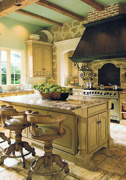 blue ceilingKitchens Design, Barstools, Dreams Kitchens, Stones Wall, Rustic Kitchens, Interiors Design, Range Hoods, Bar Stools, French Country Kitchens