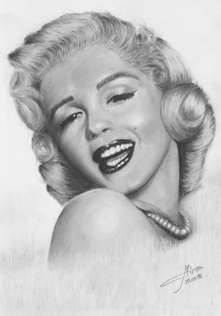 The unmistakable laughter of Marilyn Monroe. Drawing charcoal 20x30 by Mircea Craciunel.