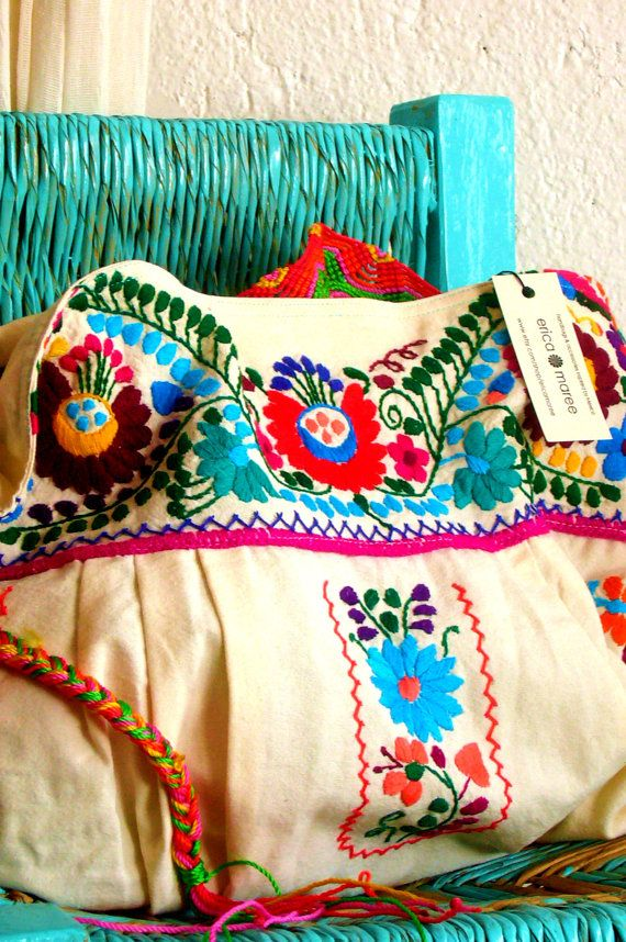 Mexican Embroidered Cross Body Purse with Macrame by EricaMaree, $75.00