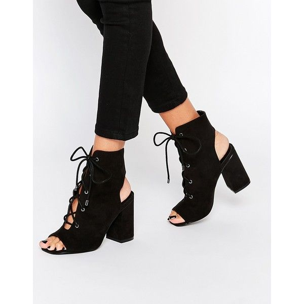 ASOS EDGECOMBE Lace Up Heel Boot (79 AUD) ❤ liked on Polyvore featuring shoes, boots, ankle booties, black, open toe booties, black lace up booties, lace up high heel booties, lace up booties and black lace up boots