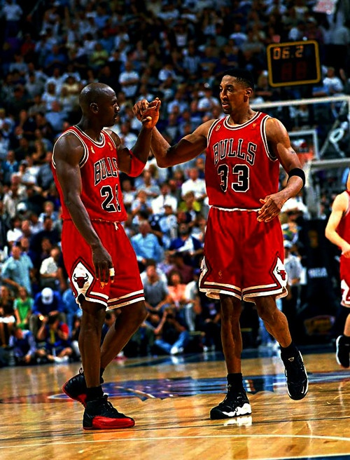 The 1990s Bulls teach me that with great teamwork you can win championships. Michael Jordan and Scottie Pippen.