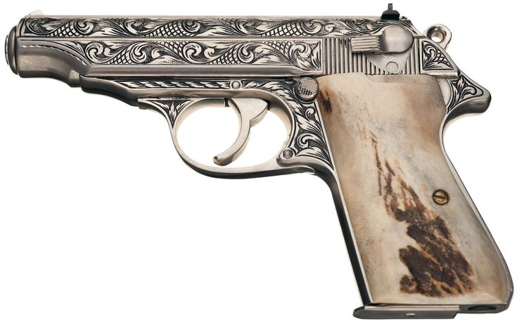 Signed Custom Engraved Walther PP Semi-Automatic Pistol with Stag Grips