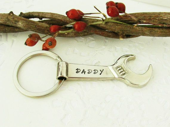 father 39 s day mechanics hand stamped crescent wrench bottle opener keychain gift for him. Black Bedroom Furniture Sets. Home Design Ideas