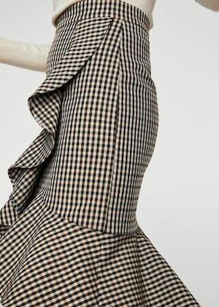 578c1b959 Genial falda a cuadros con volantes