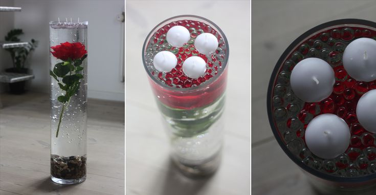 En rigtig flot dekoration lavet af sten, vand, klare vandprler, en rose og 4 flydelys.