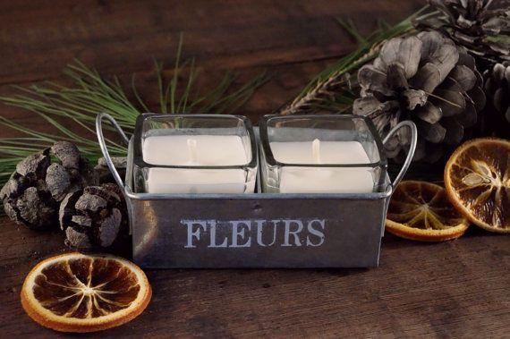 "Candele Medie soia, ""Flores"" Rosa Lavanda, Candele Romantiche, Shabby Chic Floreale Set Candele profumate in vassoio alluminio, Idea regalo"