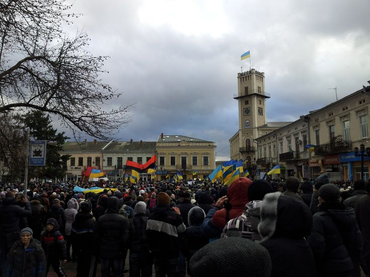 Euromaidan by City Hall in Kolomyya