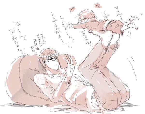 Kuroko no Basuke (黒子のバスケ) Midorima Shintarō 「なーなーしんちゃんあそべよー」「うるさいのだよ」「あそんでくれなきゃおこるのだよ!」「真似をするな。やかましいやつはこうしてくれる」「うお!?」