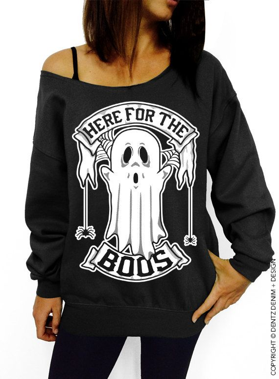 Here for the Boos - Black with White Ink Slouchy Oversized Sweatshirt - Halloween Ghost and Spiders Sweater by DentzDenim