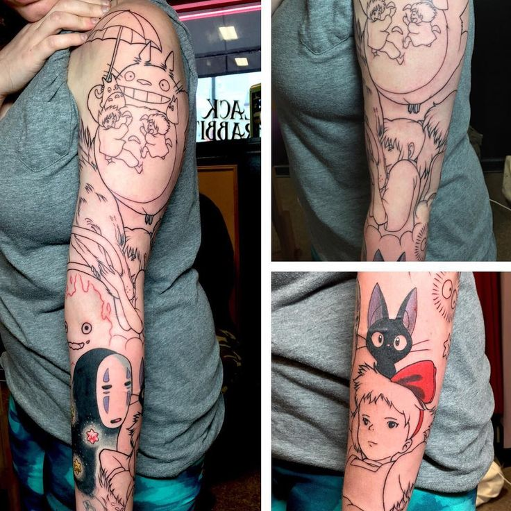 Had a great day starting another fun #ghibli sleeve! #ghiblitattoo…