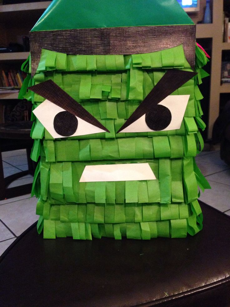 Homemade hulk piñata made out of two cinnamon toast crunch ...
