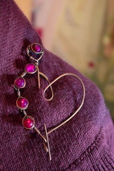 heart-shaped shawl pin copper and agata