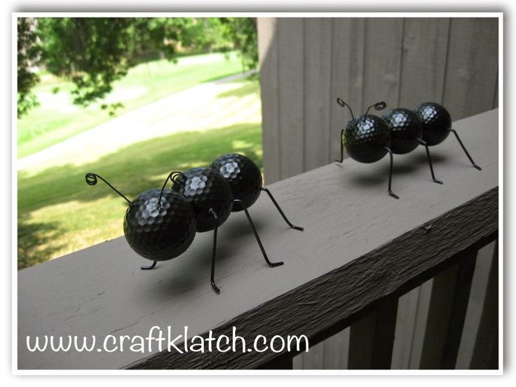DIY Golf Ball Ants - thecraftiestcouple.com/12-garden-decor-crafts/ (I like this one)