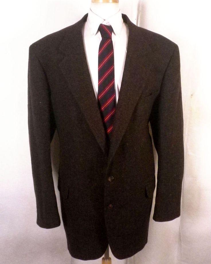 euc Bill Blass brown Colorful Flecked 100% Wool Tweed Blazer Sportcoat big 50 XL #BillBlass #TwoButton