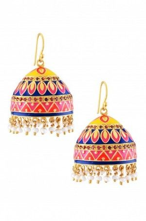 Silver enamelled small jhumkis