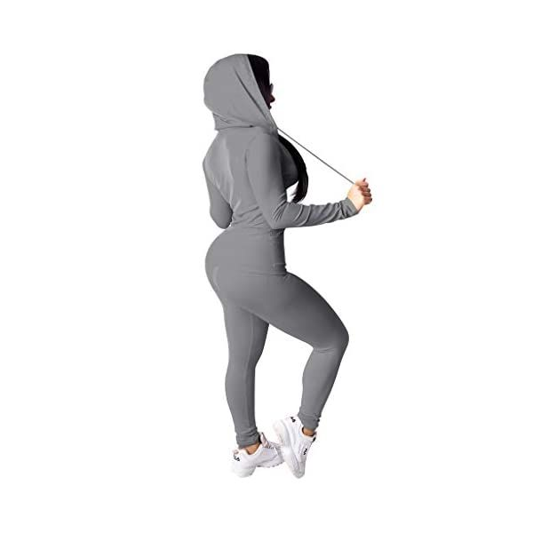 Casual Long Sleeve Full Zip Hoodie Sweatshirt Two Piece Tracksuit for Women Skinny Pants Yoga Workout Jogging Sets