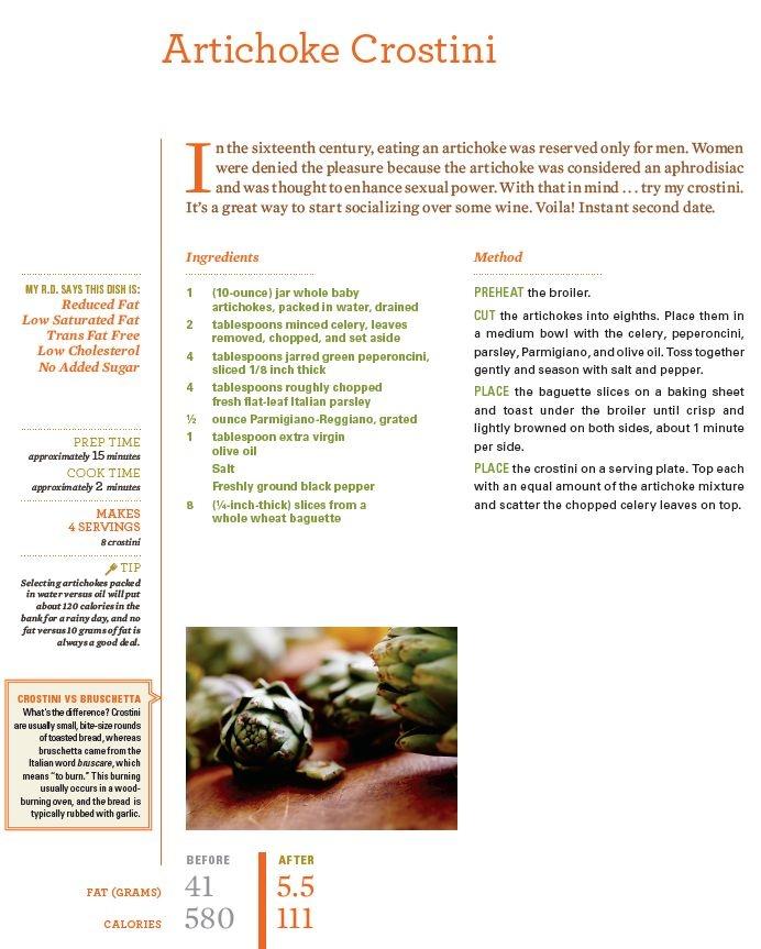 Rocco Dispirito's Artichoke Crostini Recipe!  Can't wait to try this!