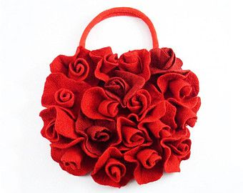 Felted Bag Nunofelt Handbag ART DECO BAG Roses purse Felt Nuno