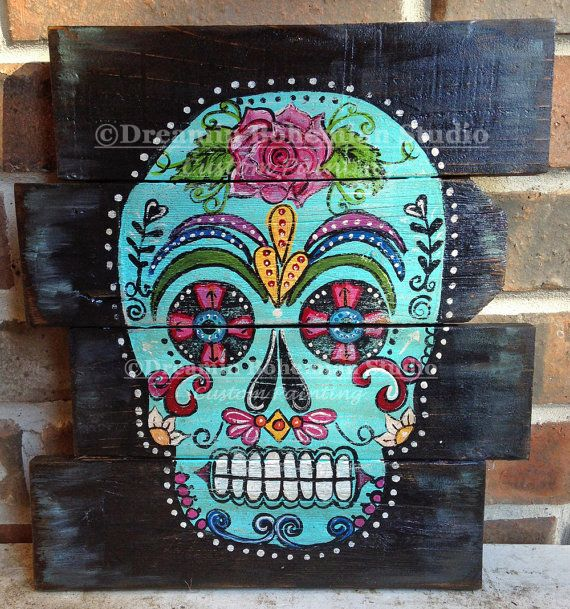 Custom Sugar Skull painted on reclaimed wood by dreaminbohemian