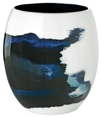 Vase Stockholm Aquatic / Ø 16 x H 22 cm H 22 cm / Blanc & bleu - Stelton - Décoration et mobilier design avec Made in Design