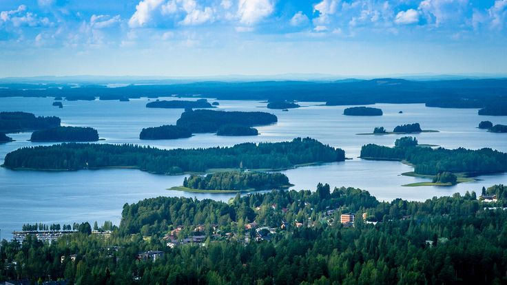 The view of Finnish lakes from Kuopio's Puijo Tower in Finland
