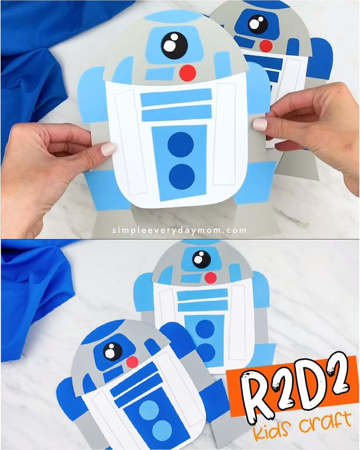 Have fun making this easy paper craft for kids this Star Wars Day! It comes with a free printable template so it's simple to recreate at home. May the Fourth Be With You! Star Wars Party, Star Wars Pinata, Theme Star Wars, Star Wars Decor, Star Wars Birthday, Manualidades Star Wars, Regalos Star Wars, R2d2, Star Wars Classroom