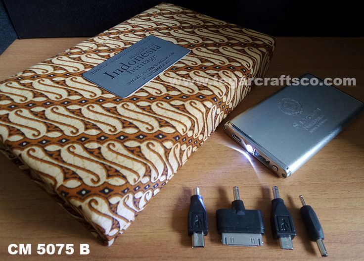 A Powerbank CM 5075B, 4400 mAh with batik custom boxes, ordered by Sheraton Hotel Surabaya.