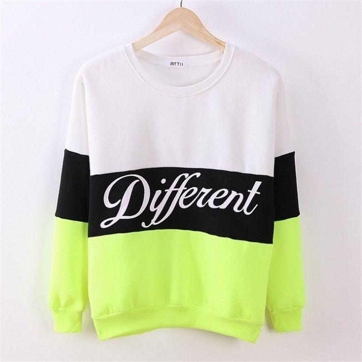 Contrast Color Letter Splicing Print Pullover Scoop Sweatshirt