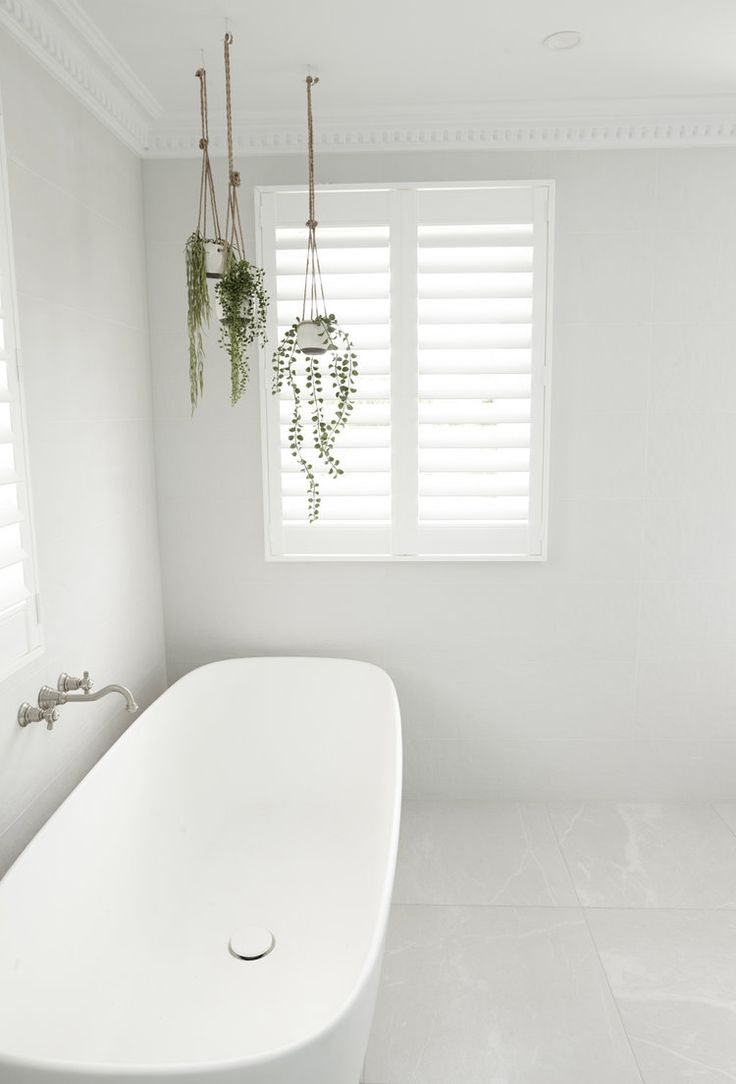 BATHROOMS: paster cornice + plantation shutters