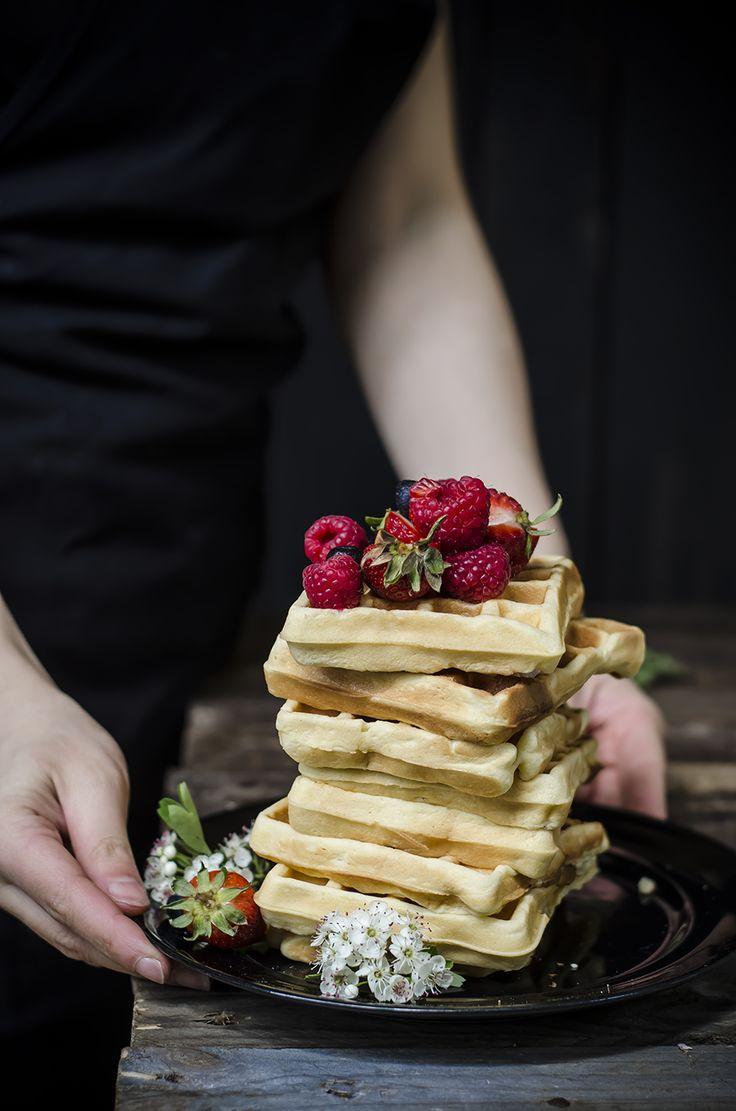 WAFFLE MORBIDI ALLO YOGURT (INGREDIENTI PER CIRCA 8-10 WAFFLE) 300 g di farina 00 140 g di zucchero 3 uova 70 ml di olio di arachidi o mais 150 g di yogurt intero bianco 1 cucchiaino e mezzo di lievito per dolci miele e frutti rossi per servire