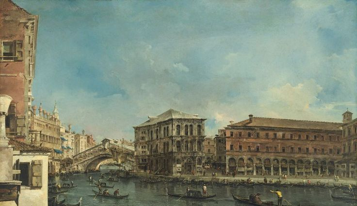 Francesco Guardi, Venice, The Rialto Bridge with the Palazzo dei Camerlenghi (mid-1760s)