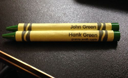 A nerdfighter gave an appropriate name to these crayons at the Crayola factory. <-------Only they forgot Dave Green <-- yes!