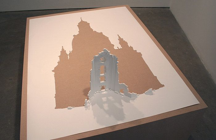 """""""Erected Ruin"""" by Peter Callesen (2007) - 120 gsm acid free paper, and glue"""